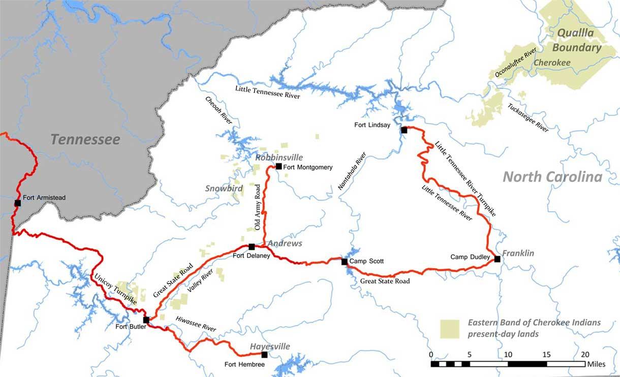 Trail Of Tears Oklahoma Map.North Carolina Trail Of Tears Association North Carolina Trail Of